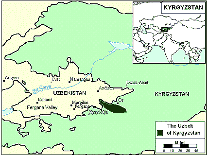 Uzbek, Northern of Kyrgyzstan map