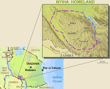 Nyiha, Nyasa Nyika of Zambia map
