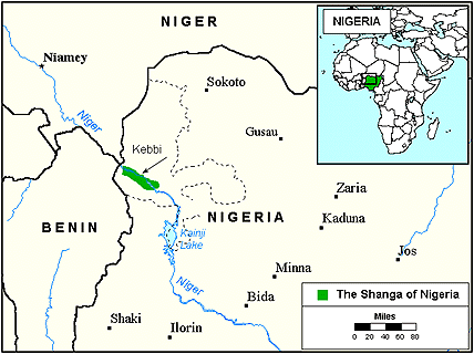Shanga, Shangawa of Nigeria map