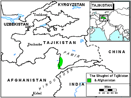 Shughni of Afghanistan map
