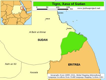 Tigre, Xasa of Sudan map