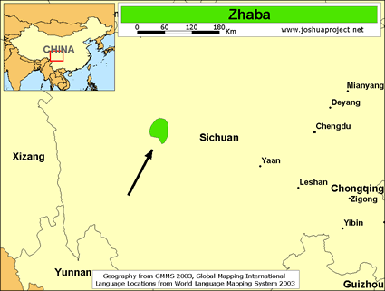 Zhaba of China map