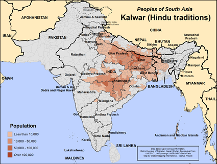 Kalwar, Hindu of Nepal map