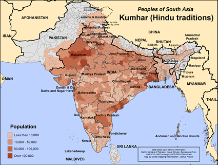 Kumhar of India map