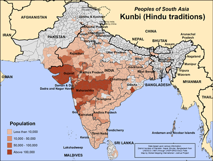 Kunbi of India map