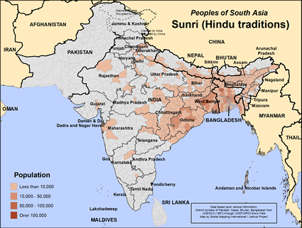 Sunri, Hindu of Nepal map