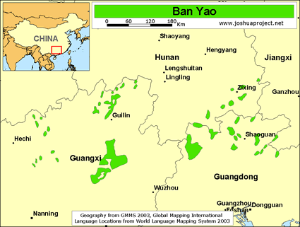 Ban Yao of China map