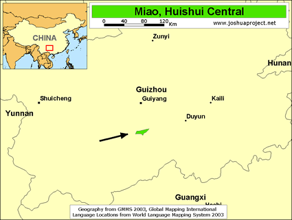 Miao, Huishui Central of China map