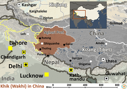 Tibetan, Nghari of China map