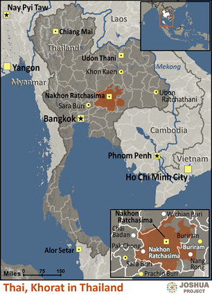 Thai, Khorat of Thailand map