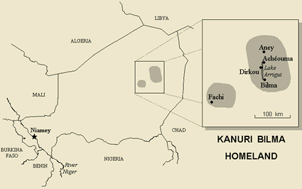 Kanuri, Bilma of Niger map