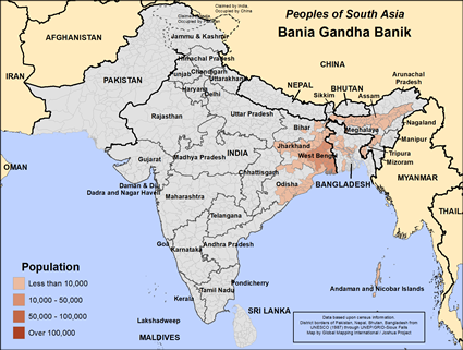 Bania, Gandha Banik of Bangladesh map