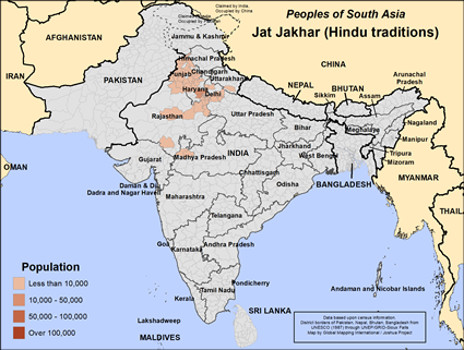 Jat, Jakhar, Hindu of India map